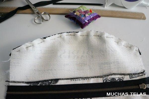 Patrones y explicaciones para confeccionar una mochila unir pieza superior