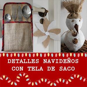 Detalles para navidad con tela de saco