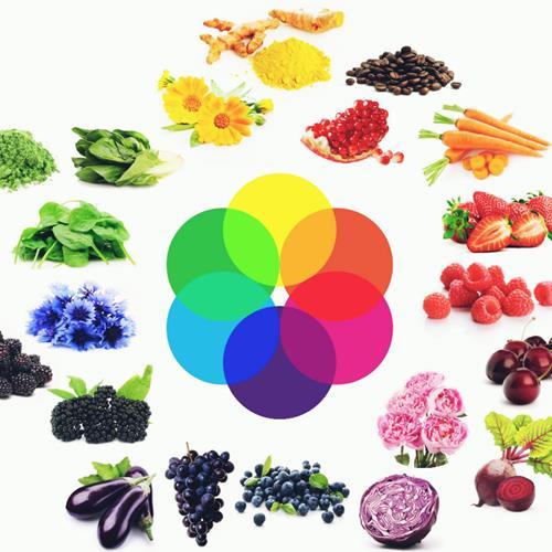 Gama de colores con productos naturales