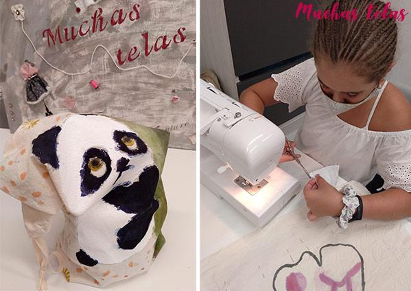 Tela pintada y niña cosiendo